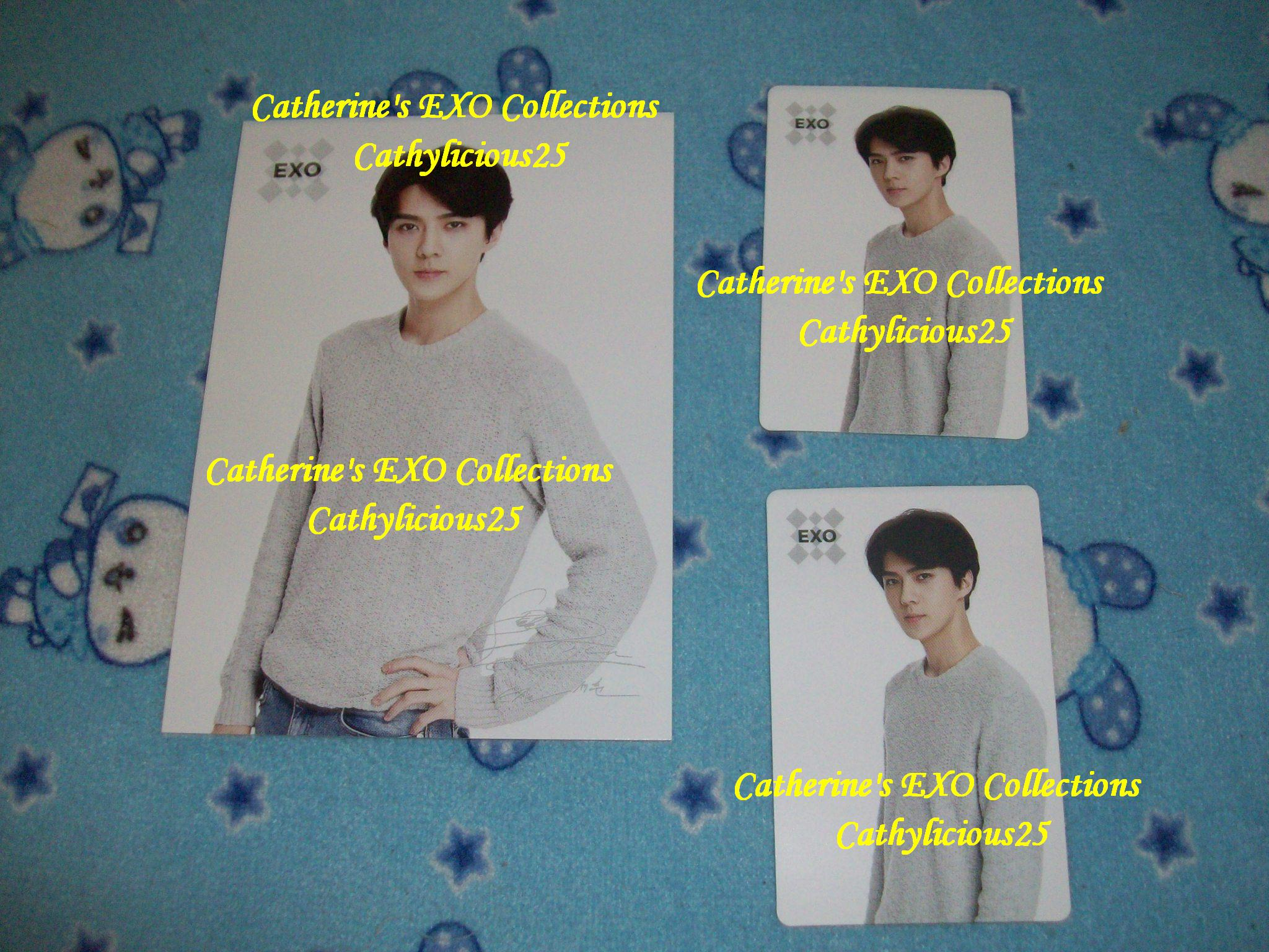 my coex artium limited exo sehun pepero postcard and sum photocard